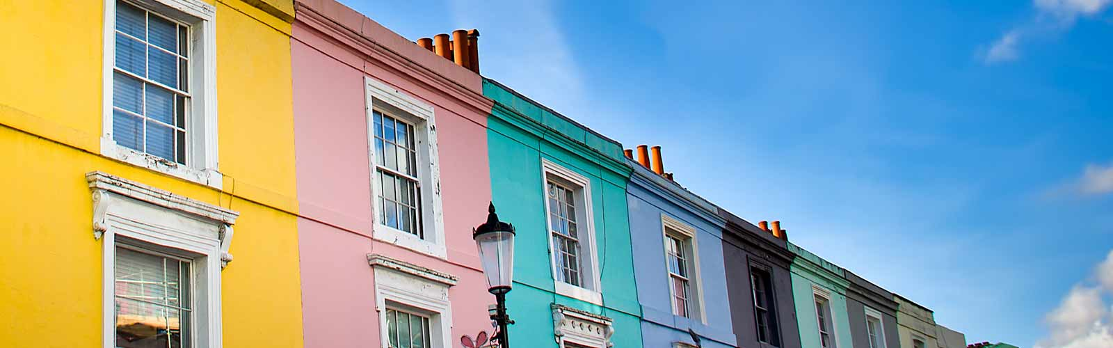 Colourful row of houses